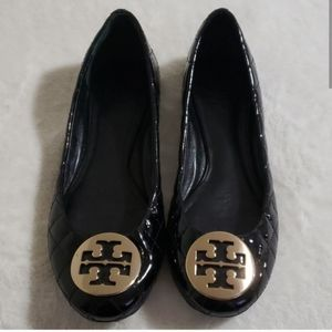 Tory Burch quilted black patent flats